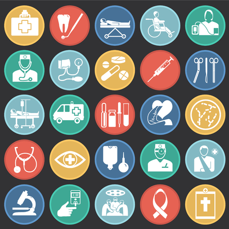 Medicine icon set on color circles black background icons
