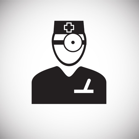 Otolaryngologist on white background icon Illustration