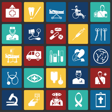 Medicine icon set on color squares background icons