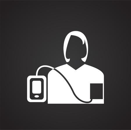 Arterial pressure measurement on black background icon Imagens