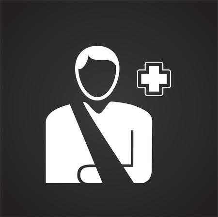Bone fracture on black background icon Imagens