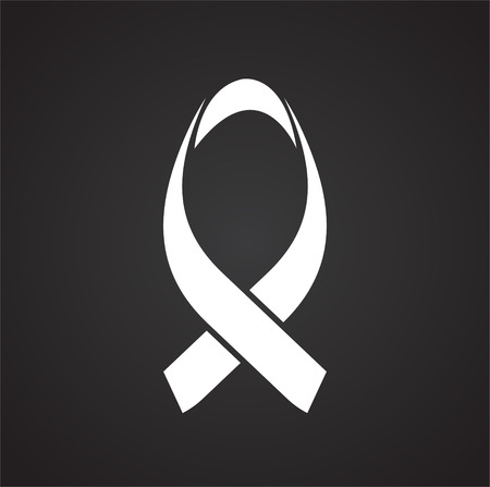 Cancer awareness sign on black background icon Banco de Imagens