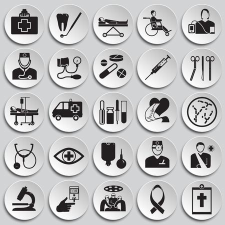 Medicine icon set on plates background icons Imagens