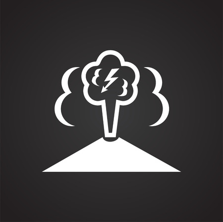 Geo thermal energy on black background icon
