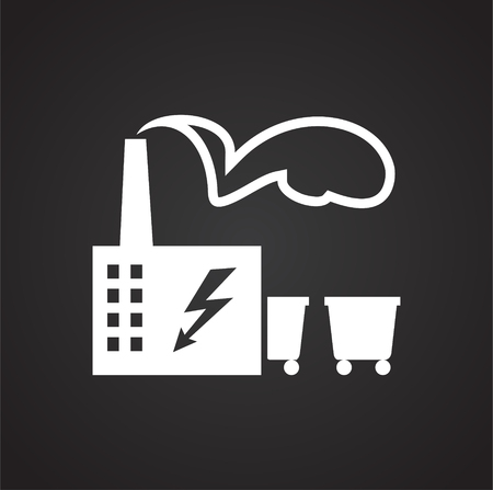 Coal power plant on black background icon