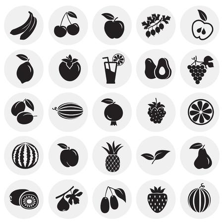Fruits set on circles background icons