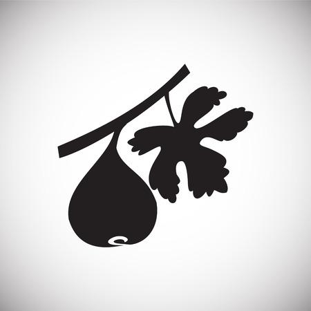 Fig avec feuille sur l'icône de fond blanc Vecteurs