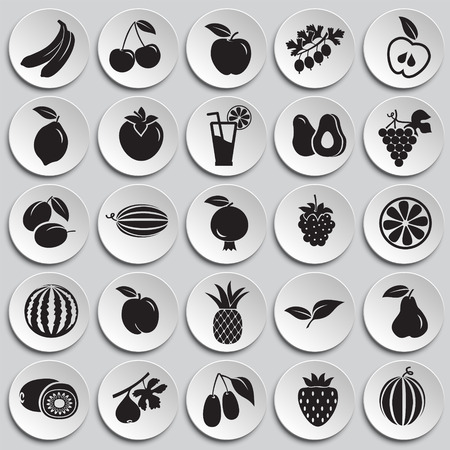 Fruits set on plates background icons Vectores