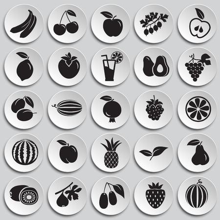 Fruits set on plates background icons Illustration