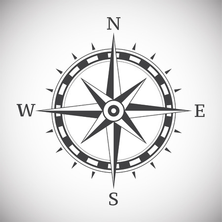 Ancient compass vintage on white background illustration Vettoriali