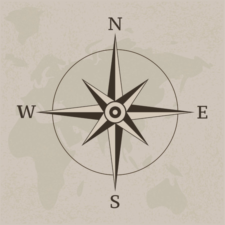 Ancient compass vintage paper background illustration Stock Vector - 112849076