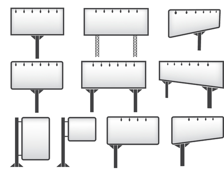 Bilboard mockup set on white background icons