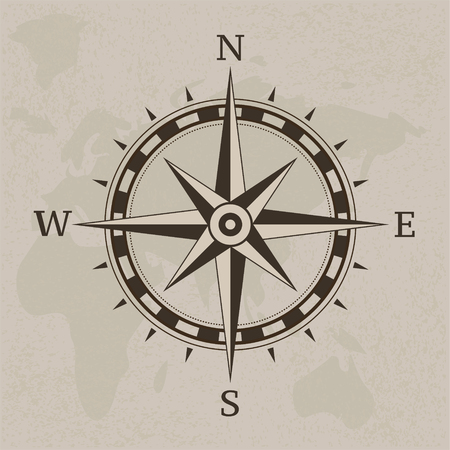 Ancient compass on vintage paper background illustration