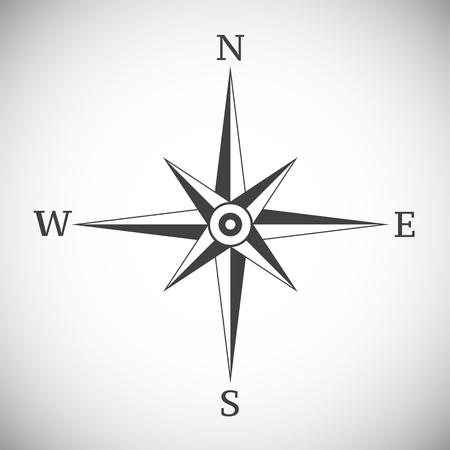 Windrose-Kompassweinlese auf weißer Hintergrundillustration