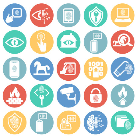 Cyber security and computer icons set on color circles background for graphic and web design, Modern simple vector sign. Internet concept. Trendy symbol for website design web button or mobile app.