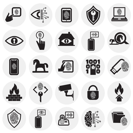 Cyber security and computer icons set on circles background for graphic and web design, Modern simple vector sign. Internet concept. Trendy symbol for website design web button or mobile app. Vectores