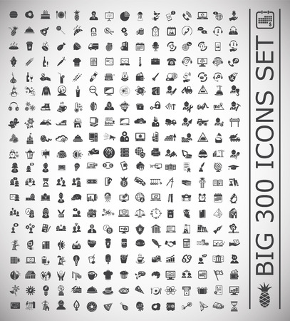 Big 300 icons set on white background for graphic and web design, Modern simple vector sign. Internet concept. Trendy symbol for website design web button or mobile app. Vector Illustration