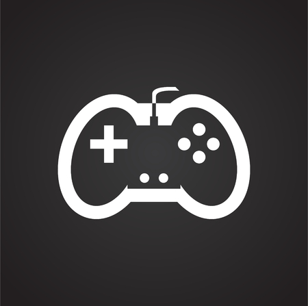 Game console controller icon on black background for graphic and web design, Modern simple vector sign. Internet concept. Trendy symbol for website design web button or mobile app. Banque d'images