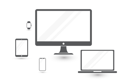 Set of minimalistic computer monitor, laptop, tablet, mobile phone and smart watch. Electronic gadgets isolated on white background icons