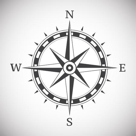 Ancient compass vintage on white background illustration Illustration