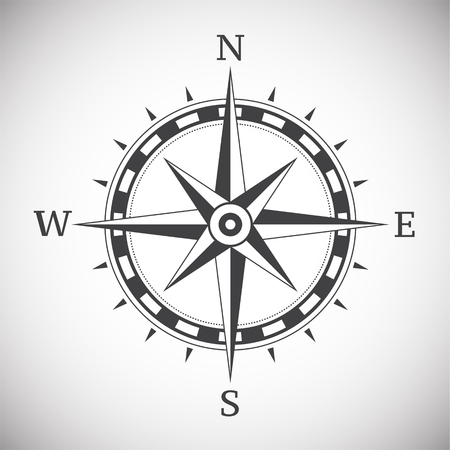 Ancient compass vintage on white background illustration Stock Photo