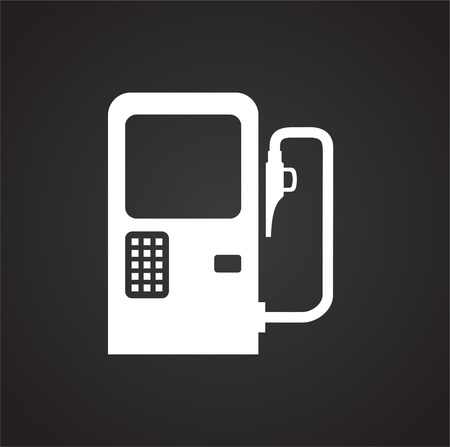Car petrol station icon on black background for graphic and web design, Modern simple vector sign. Internet concept. Trendy symbol for website design web button or mobile app.