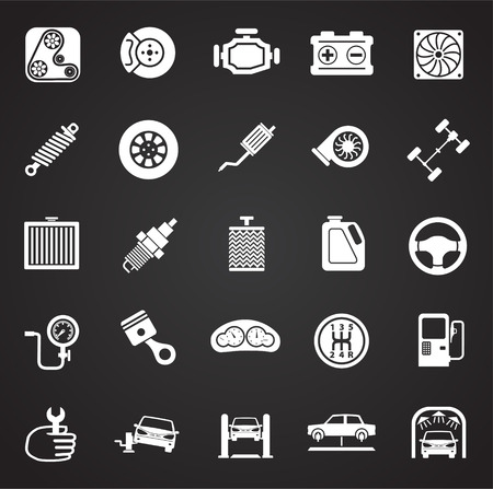 Car parts and repair icon set on black background for graphic and web design, Modern simple vector sign. Internet concept. Trendy symbol for website design web button or mobile app.