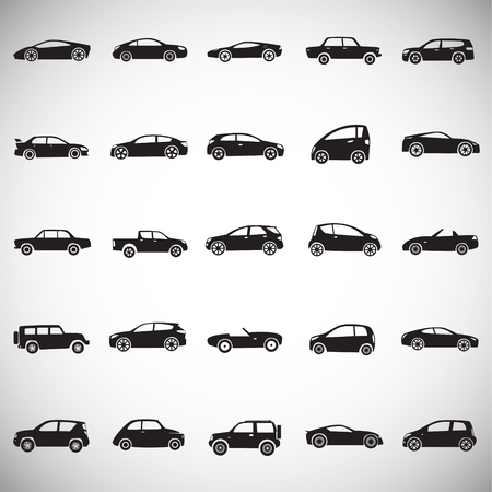 Cars collection icons set on white background for graphic and web design, Modern simple vector sign. Internet concept. Trendy symbol for website design web button or mobile app.