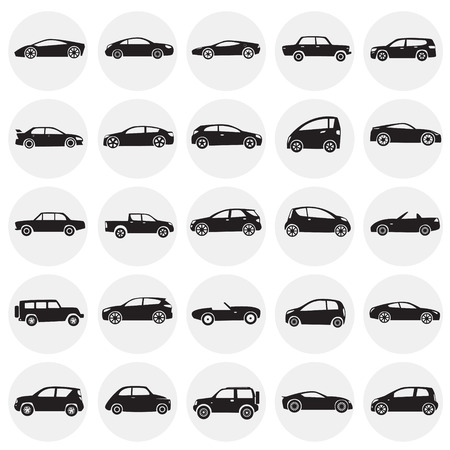 Cars collection icons set on circles background for graphic and web design, Modern simple vector sign. Internet concept. Trendy symbol for website design web button or mobile app. 免版税图像