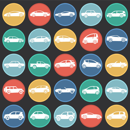 Cars collection icons set on color circles black background for graphic and web design, Modern simple vector sign. Internet concept. Trendy symbol for website design web button or mobile app.