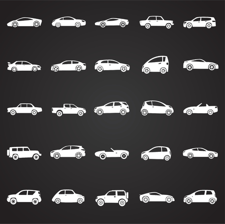 Cars collection icons set on black background for graphic and web design, Modern simple vector sign. Internet concept. Trendy symbol for website design web button or mobile app.
