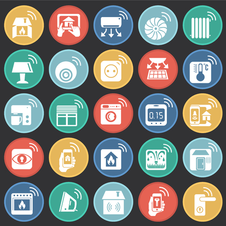 Smart home icons set on color buttons black background for graphic and web design, Modern simple vector sign. Internet concept. Trendy symbol for website design web button or mobile app.