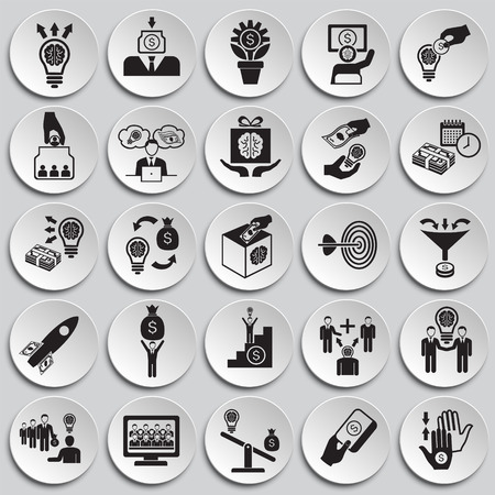 Crowdfunding icons set on plates background for graphic and web design, Modern simple vector sign. Internet concept. Trendy symbol for website design web button or mobile app Ilustração