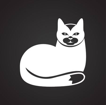 Pet cat icon on black background for graphic and web design, Modern simple vector sign. Internet concept. Trendy symbol for website design web button or mobile app