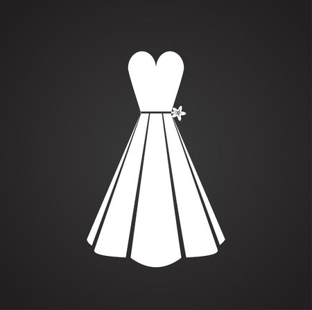 Wedding bride dress icon on black background for graphic and web design, Modern simple vector sign. Internet concept. Trendy symbol for website design web button or mobile app