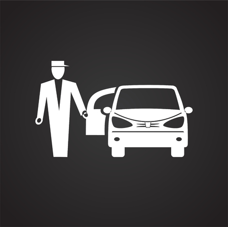 Wedding car icon on black background for graphic and web design, Modern simple vector sign. Internet concept. Trendy symbol for website design web button or mobile app Stockfoto