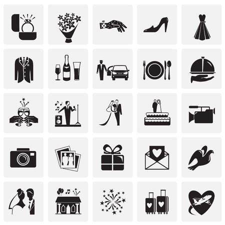 Wedding icons set on squares background for graphic and web design, Modern simple vector sign. Internet concept. Trendy symbol for website design web button or mobile app 版權商用圖片