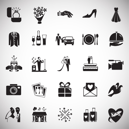 Wedding icons set on white background for graphic and web design, Modern simple vector sign. Internet concept. Trendy symbol for website design web button or mobile app 版權商用圖片