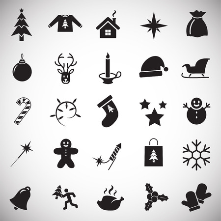 Christmas icons set on white background for graphic and web design, Modern simple vector sign. Internet concept. Trendy symbol for website design web button or mobile app Ilustração