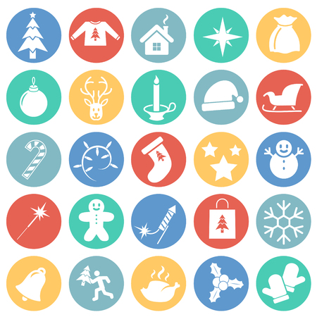 Christmas icons set on color circles background for graphic and web design, Modern simple vector sign. Internet concept. Trendy symbol for website design web button or mobile app Ilustração