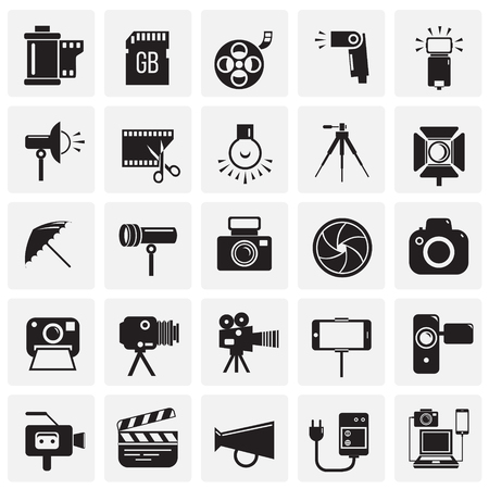 Photography and videography icon set on squares background for graphic and web design, Modern simple vector sign. Internet concept. Trendy symbol for website design web button or mobile app 向量圖像