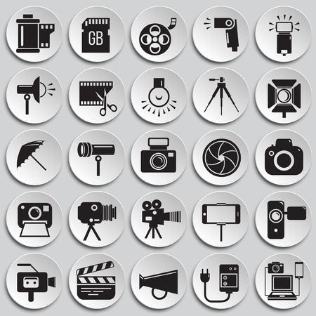 Icône de photographie et de vidéographie sur fond de plaques pour la conception graphique et web, signe vectoriel simple moderne. Notion Internet. Symbole à la mode pour le bouton Web de conception de site Web ou l'application mobile Vecteurs