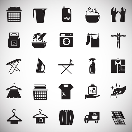 Laundry icons set on white background for graphic and web design, Modern simple vector sign. Internet concept. Trendy symbol for website design web button or mobile app Archivio Fotografico