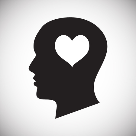 Human head with heart icon on white background for graphic and web design, Modern simple vector sign. Internet concept. Trendy symbol for website design web button or mobile app Иллюстрация