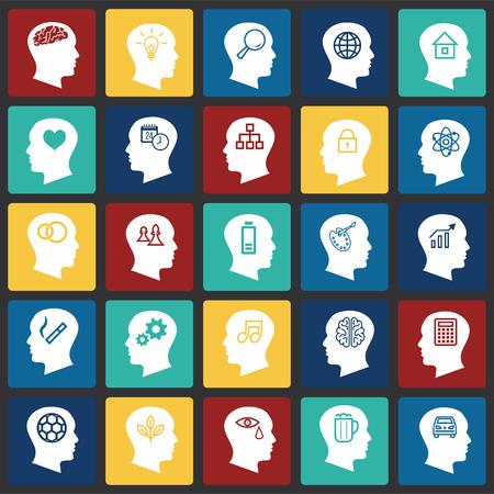 Icônes de pensées de personnes définies sur fond de carrés de couleur pour la conception graphique et web, signe vectoriel simple et moderne. Notion Internet. Symbole à la mode pour le bouton Web de conception de site Web ou l'application mobile