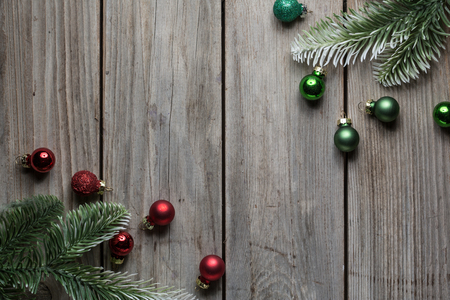 Christmas decorations old timber table background for graphic and web design, Modern simple internet concept. Trendy for website design web or mobile app Stok Fotoğraf - 113219236
