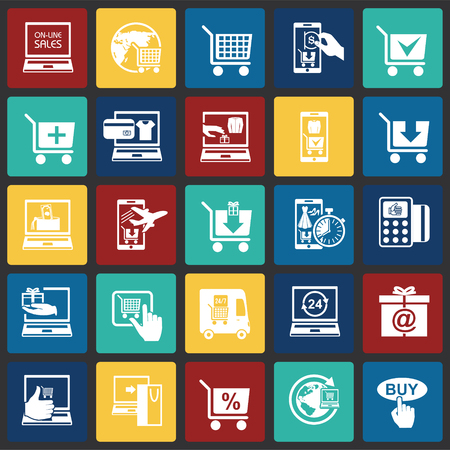 Online shopping icons set on color squares background for graphic and web design, Modern simple vector sign. Internet concept. Trendy symbol for website design web button or mobile app