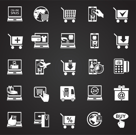 Online shopping icons set on black background for graphic and web design, Modern simple vector sign. Internet concept. Trendy symbol for website design web button or mobile app