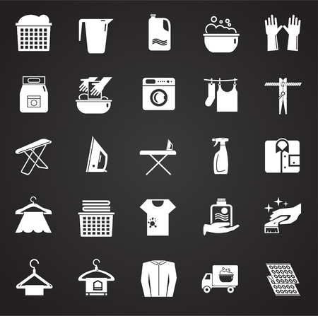 Laundry icons set on black background for graphic and web design, Modern simple vector sign. Internet concept. Trendy symbol for website design web button or mobile app