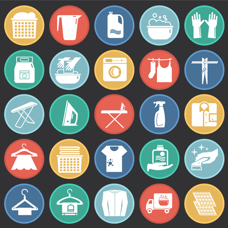 Laundry icons set on color circles black background for graphic and web design, Modern simple vector sign. Internet concept. Trendy symbol for website design web button or mobile app Vector Illustratie